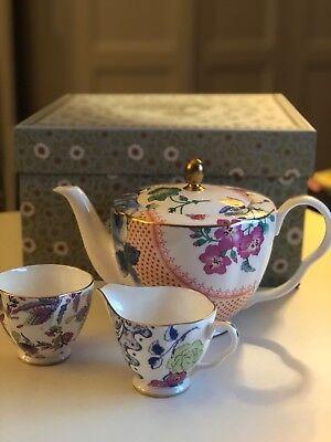 Wedgwood Butterfly Bloom 3-teiliges Set: Teekanne, Zuckerdose, Milchkännchen Butterfly Tee-set