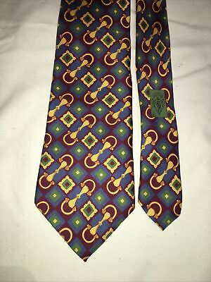 "VINTAGE GUCCI Tie Horsebit Pattern Silk - ITALY- ""Damages "" Rare Patern"