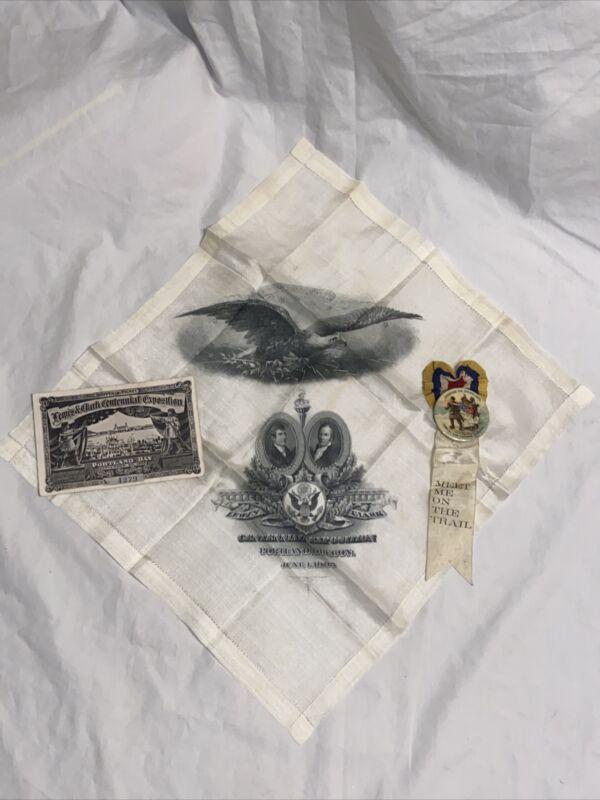Lewis & Clark Exposition Portland Lot 1905, Silk Handkerchief, Pin, Ticket Expo
