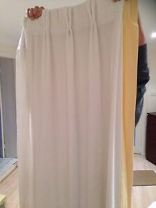 White velvet curtains with yellow trim Yowie Bay Sutherland Area Preview
