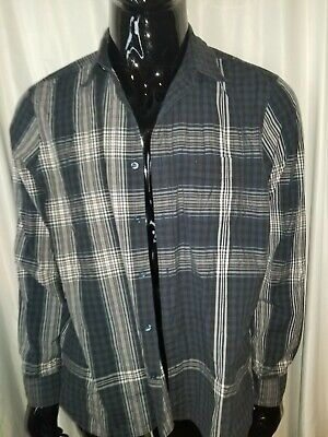 Burberry London Button Down Shirt, Mens XXL, Blue White Plaid