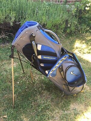 Nike Sasquatch Golf Carry and Stand Bag | 14-Way Divider | Grey/Blue/Yellow