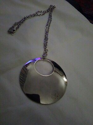 Silver Tone Round Pendant Long Necklace, used for sale  Shipping to South Africa