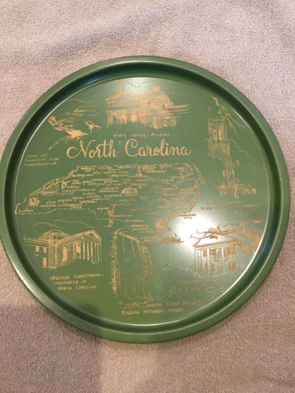 Vintage North Carolina NC State Metal Tin Collector Souvenir Plate Tray 11 Inch