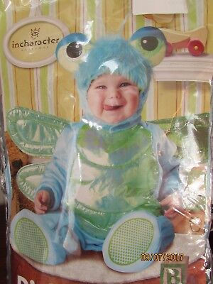 New 0-6 months Dinky Dragonfly Costume Blue Big Eyes Hat Jumpsuit Wings - Dragonfly Kostüm