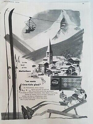 Antiquitäten Anzeigen (1950 Drink Coca Cola Soda Holland Windmill Vintage Eislaufen Anzeige)