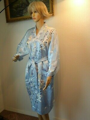 Vintage Sky Blue Robe Kimono belted made in Japan