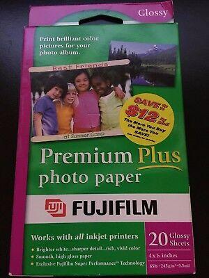 PHOTO PAPER FUJIFILM PREMIUM PLUS 4X6 20 2 packs total 40 Sheets Free Shipping