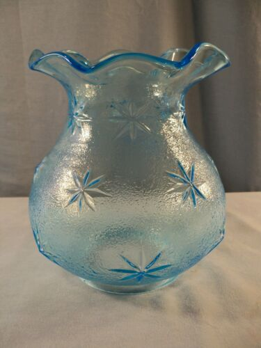 """Fenton For L.G. Wright Blue Glass Stipple Star Pattern Lamp Shade 4"""" Fitter"""