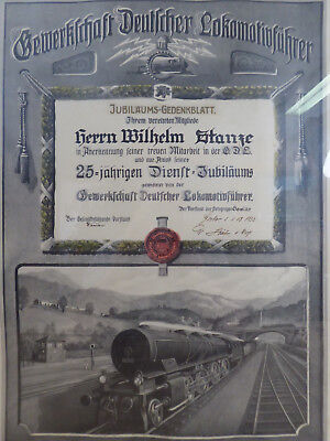 Jubiläums Gedenkblatt 25 Jahre Dienst GDL Lokomotivführer 1932 Lok Eisenbahn