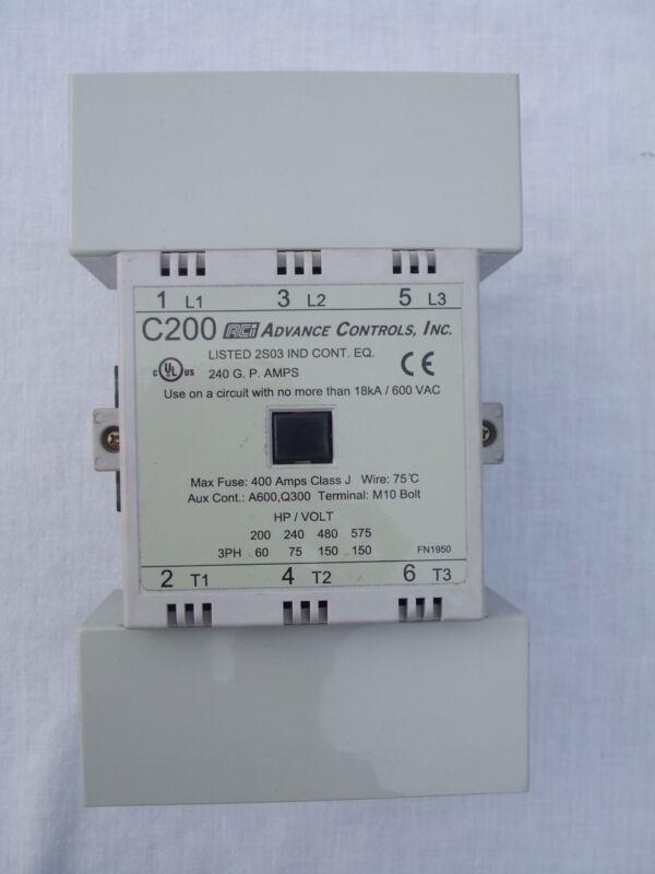 New ACI Advance Controls Inc. C200 Contactor Non Reversing 3 Pole AC Coil