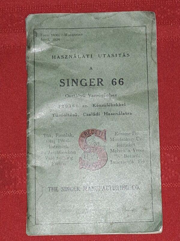 Singer 66 Sewing Machine Manual 1924