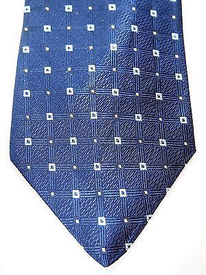 Ferrell Reed Blue Yellow Checkered Mens Necktie Tie 100% Silk 58