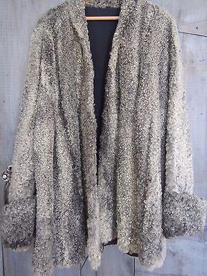 Vintage Curly Persian Lamb Fur Wool Swing Coat White Gray Swirl Mod