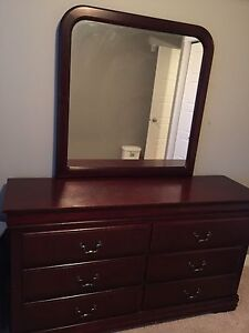 Dresser with mirror and night stand