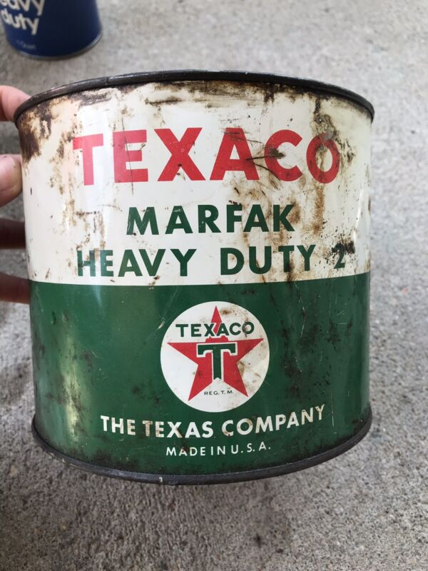 Vintage TEXACO Gas Oil Station 5 Pound Marfak Heavy Duty 2 Grease Can