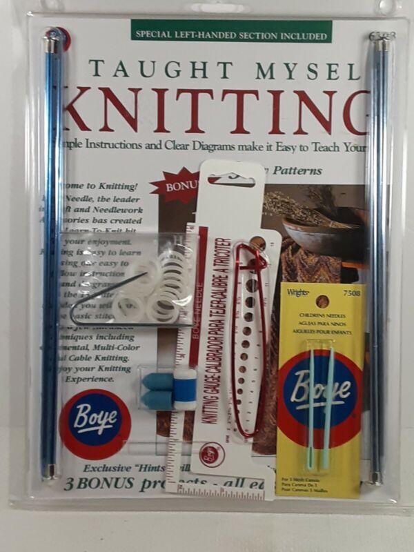 Boye, I taught myself knitting, book, needles, other supplies