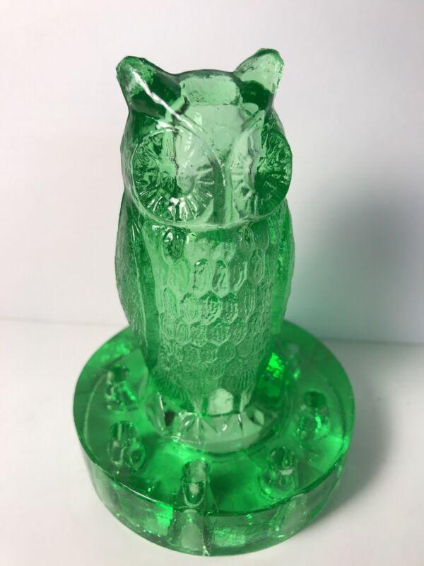 Vintage Green Depression Glass Owl Figural Flower Frog