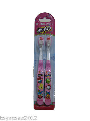 2 Shopkins Kid Child Girl Soft Rounded Bristle Toothbrushes