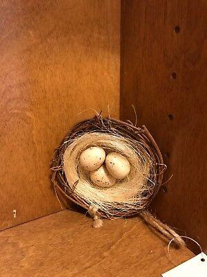 """Chickadee Bird Nest with 3 Eggs Christmas Tree Ornament 3 1/2"""""""