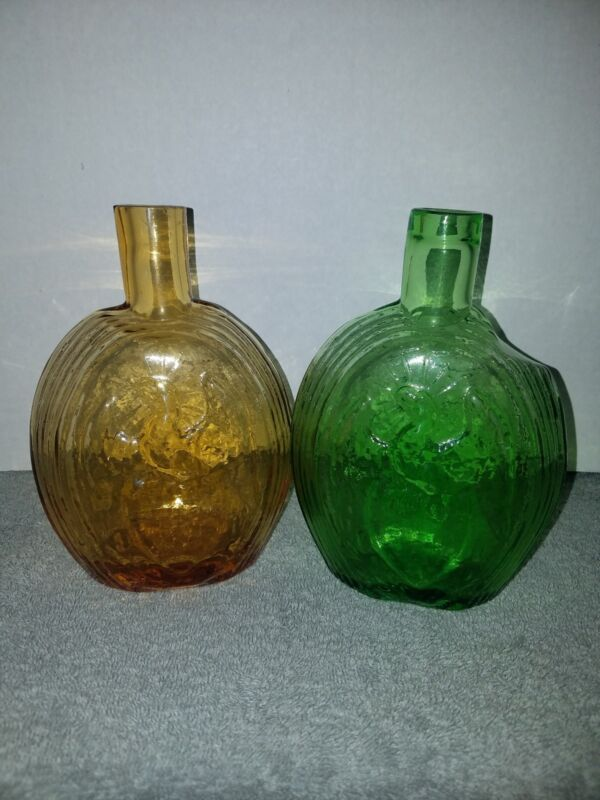 Eagle & Flag Glass Medicine Bottles Green & Amber Color 7.25 Inches Tall