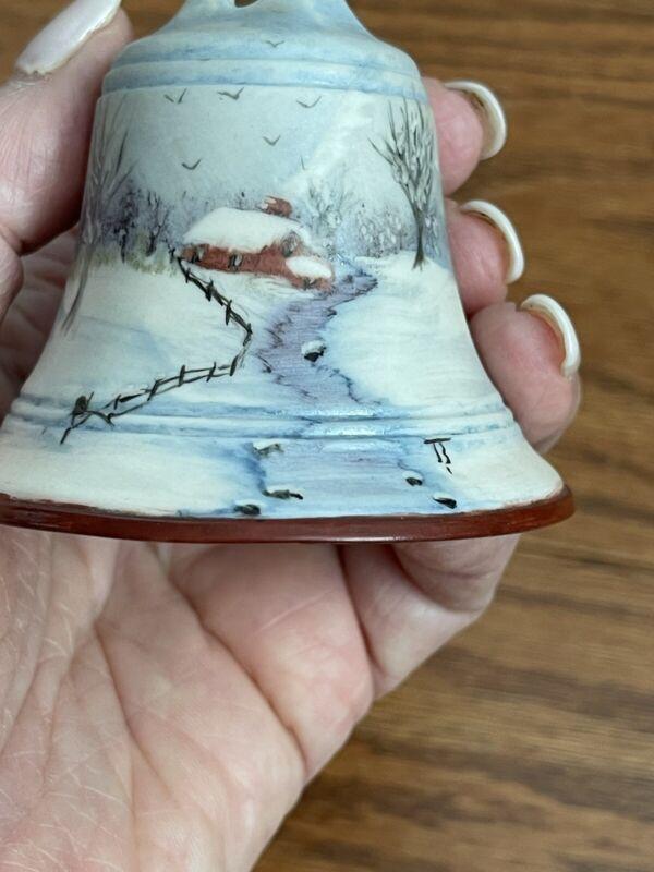 """Hand Painted Matte Finish Porcelain Bell - Farm Landscape- ~2.75x2.5"""" EUC"""