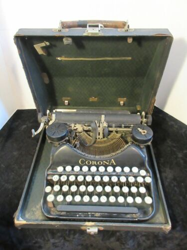 1920s Antique L.C. Smith & Corona Typewriter with Case & Key