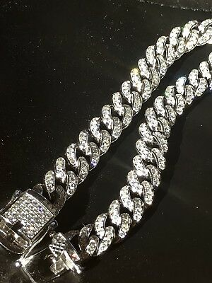 Mens Miami Cuban Link Bracelet Real Solid 925 Sterling Silver Diamond 9mm 6.5-9""