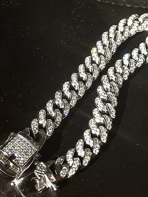 Mens Cuban Miami Link Bracelet 14k Rhodium Solid 925 Silver Lab Diamonds 9mm