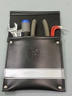 Sav-a-jake Firefighter Leather Pocket Tool Pouch W3m Silver Reflective Stripe