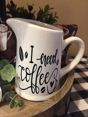 COFFEE MINI CREAMER - I NEED COFFEE CREAMER - COFFEE TIER TRAY DECOR