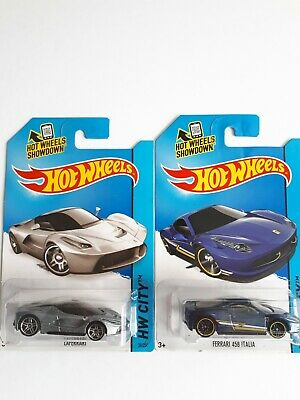 Hot wheels 2014 FERRARI  458 ITALIA Blue &  LAFERRARI metallic silver  🔥🔥