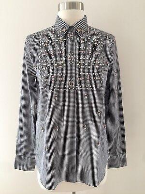 New Collection Thomas Mason JCrew Embellished Gingham Button-up Shirt Sz 2 F6012