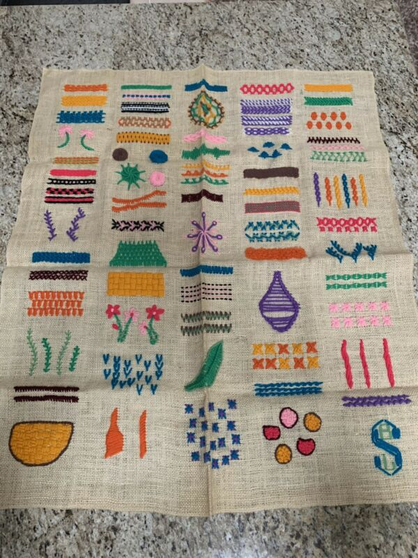 "VIntage Dutch Crewel Embroidery Yarn Sewing  Sampler Of Stitch Types Lg 35"" X 30"