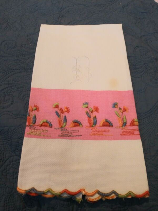 """Embroidered Cotton Huck Hand Towel 27"""" by 15 1/2"""" As Is"""