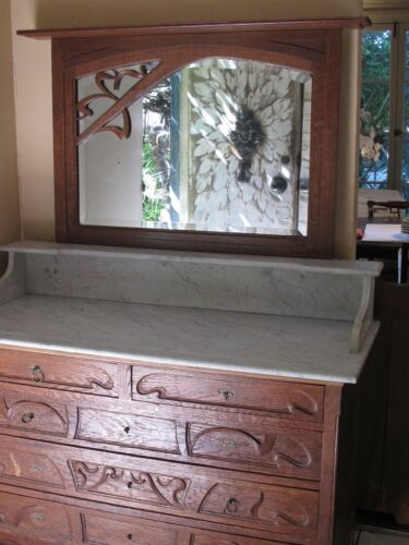 Antique Art Nouveau Dresser with Matching  Mirror and White Marble Top