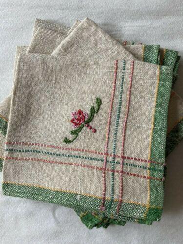 Vtg set 6 linen cocktail picnic napkins embroidered flower water lily pink green