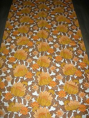 Vintage 60s 70s flower power orange yellow brown large length fabric / curtain