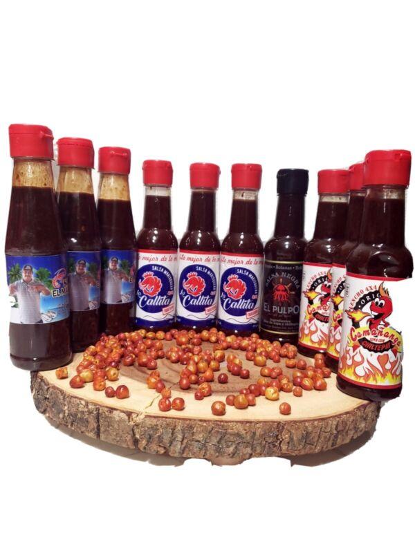 3 La Callita  + 3  camañanga+ 3 salsas de el marisquero y 1 salsa del pulpo