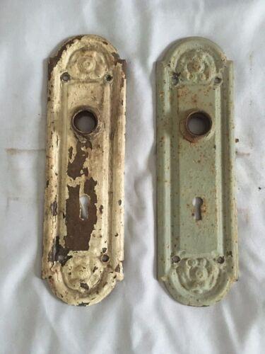 Antique Pair Steel Door Knob Backplates Old Ornate Vtg Hardware 220-20E