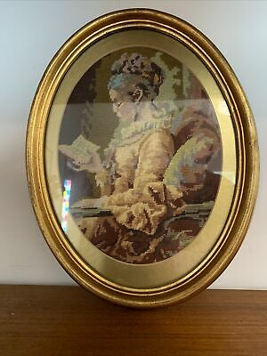 Vintage Antique Oval Tapestry Framed Picture Victorian Lady Reading