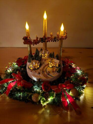 THOMAS KINKADE LIGHTED CHRISTMAS VILLAGE WREATH LIMITED EDITION NO A2871 TALKING