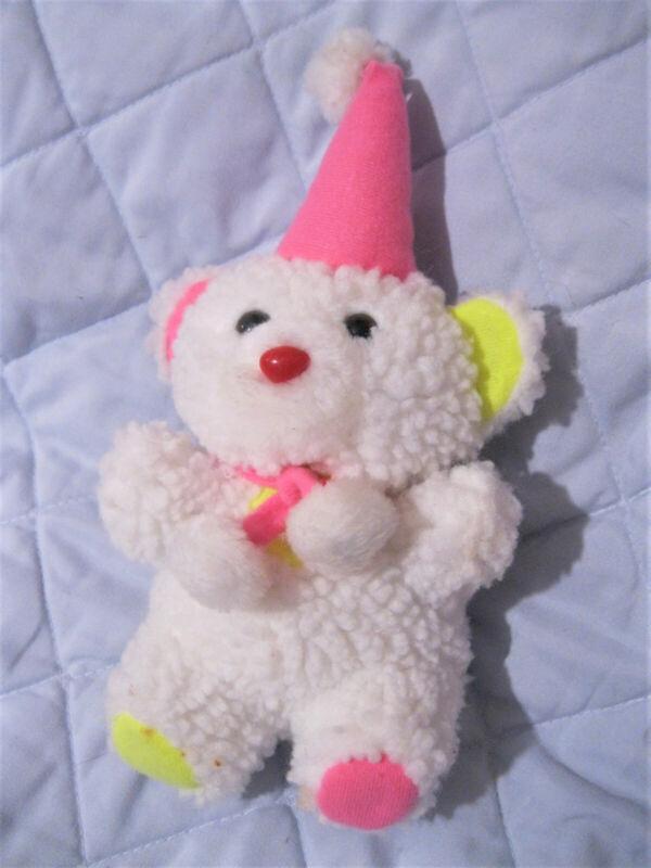Clowncore Kidcore Clown White Fluffy Plush Teddy Bear 9 Inch