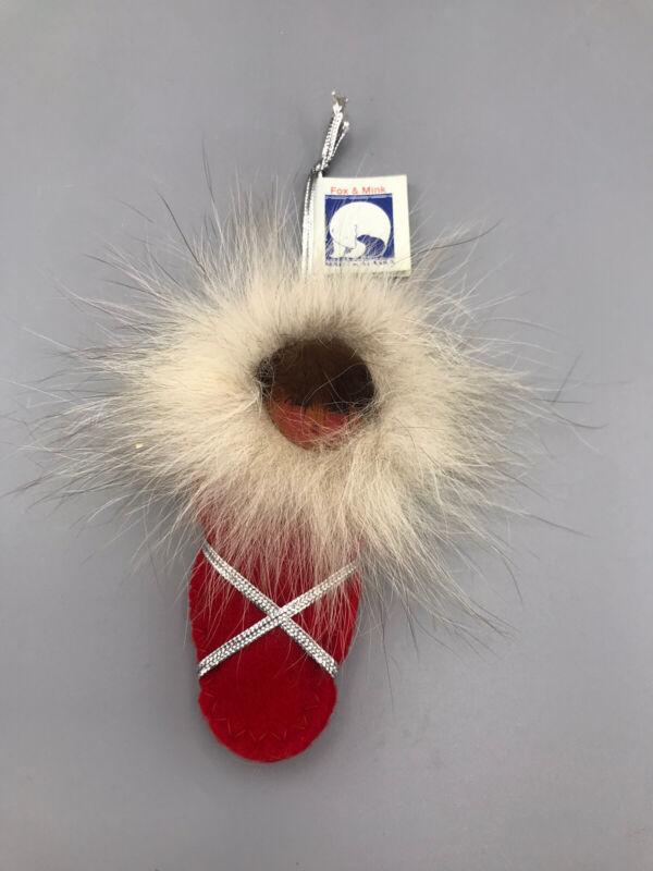 Vintage Eskimo Christmas Ornament Fox Mink Fur Hand Made Alaska Doll Co
