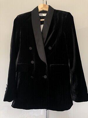 New Zara Black Velvet Tuxedo Shawl Collar Blazer Jacket XS UK 6-8