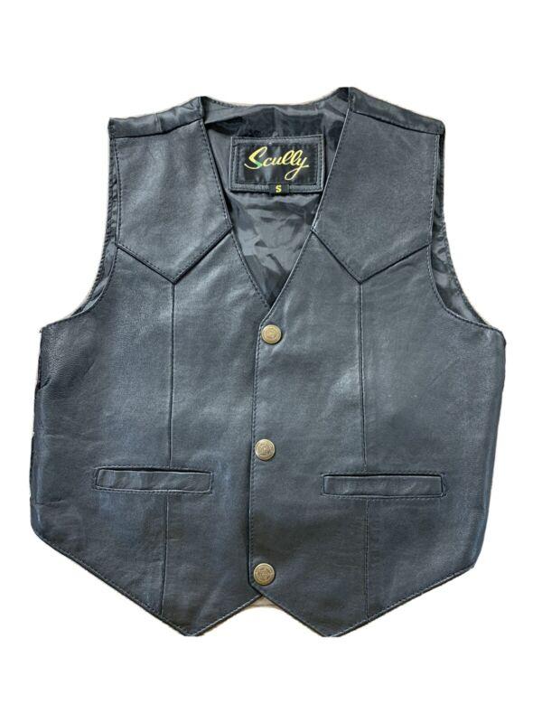 Scully kids boys Small black leather black Western vest