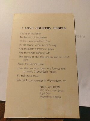 Nick Alexion Nicks Cafe Narrative Waynesboro Va  Advertising Postcard