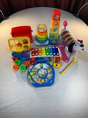 Lot Of 7 Toddler Baby Toys Learning Shapes Colors Stacking A B C ANIMALS