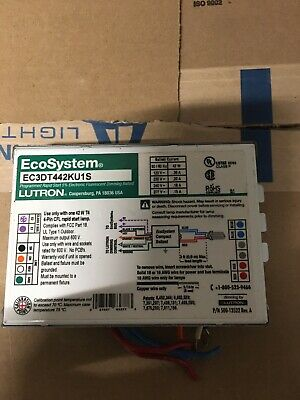 Lutron Ecosy. Rapid Start Flourescent Dimming Ballast Ec3dt442ku1s Used-warranty