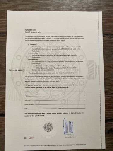 Authentic Richard Mille Certificate paper UNFILLED